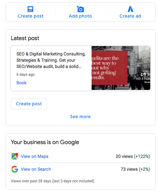 google my business dashboard | dvmarketing
