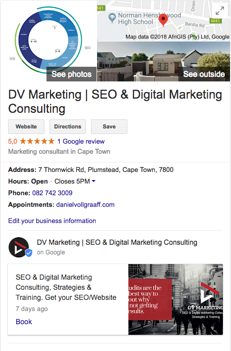 google my business and knowledge graph | search engine brand and experience | dvmarketing
