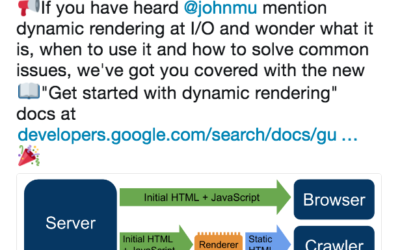 Google published documentation on dynamic rendering for crawling, indexing JavaScript websites